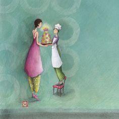 """Gaëlle Boissonnard square card (14cm) """"Le gâteau offert"""""""