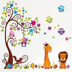 Colorful Owl Cartoon Forest Animals Tree Removable Wall Decals Decor Sticker for Nursery Kids Bedroom Playroom * Click image for more details.