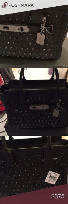 Coach black handbag new with tags and box swagger-27-in-pebble-leather-with-ombre-rivets has shoulder strap. Coach Bags