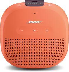 Bose® SoundLink® Micro Bluetooth® speaker (Orange with purple strap) Waterproof portable Bluetooth speaker at Crutchfield Best Portable Bluetooth Speaker, Waterproof Bluetooth Speaker, Wireless Lan, Wireless Speakers, Audio Headphones, Ipod, Cable Audio, Passive Radiator, Google Voice