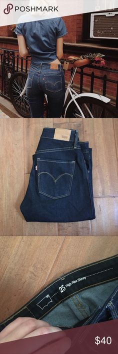 Hi Rise Levis These are so rad. SUPER dark blue denim size 25x32. Only worn a few times! Super skinny and look great with any outfit. In amazing condition! Levi's Pants