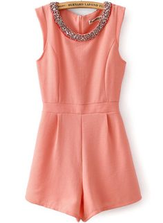 Pink Sleeveless Rhinestone Round Neck Jumpsuit