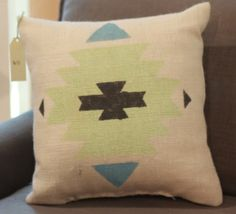 Burlap Pillow  Aztec Tribal Pillow  Made to by TwoPeachesDesign, $32.00 - Choose your own colors #boho #aztec #tribal