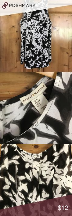 """Mercer & Madison sleeveless print blouse-small-New New without the tags-cut them off and never wore it. Black and ivory shadow print leaf pattern. Size small. Measures 19"""" across underarms and 26"""" long mercer & madison Tops Blouses"""
