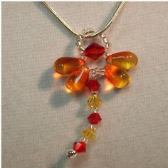 Dragonfly Necklace in Fire Opal