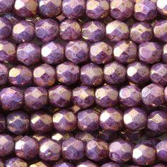 Eureka Crystal Beads - Round 4mm Firepolish Beads PINK BRONZE LUSTER Czech Glass…