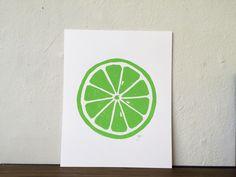 Lime Linocut print