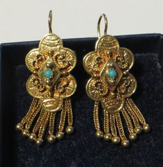 Antique-Victorian-Etruscan-Revival-14ct-Gold-Turquoise-Drop-Earrings