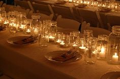 mason jars as table runners
