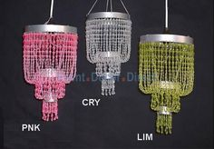 Raindrop Beaded Chandelier in Pink, Lime and Crystal - Event Decor Direct - North America's Premier
