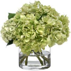 Green Hydrangea Bouquet in Glass Cylinder.glass vases at Ikea? Green Hydrangea Bouquet, Green Flowers, Faux Flowers, Silk Flowers, White Hydrangeas, Flower Planters, Flower Vases, Flower Art, Modern Floral Arrangements