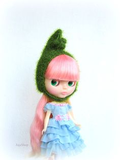 Blythe doll hat green soft and fluffy knitted hat от JujaShop