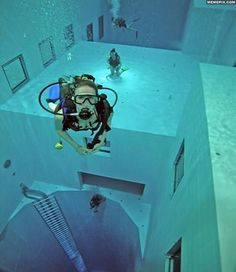 This is the world's deepest swimming pool, in Belgium which is 100 feet deep.