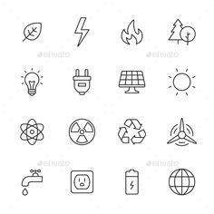 Find Ecology Energy Line Icons stock images in HD and millions of other royalty-free stock photos, illustrations and vectors in the Shutterstock collection. Line Design, Icon Design, Design Art, Moodboard App, Energy Symbols, Brain Tattoo, Science Icons, Best Icons, Wayfinding Signage