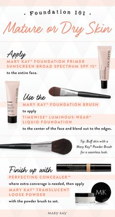 Bare glowing skin with foundation products catered to your skin type. Mature or dry skin? We recommend starting with Mary Kay® Foundation Primer Sunscreen Broad Spectrum SPF 15* and using TimeWise® Luminous-Wear® Liquid Foundation.