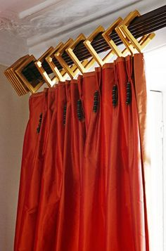 Dramatic use of decorative rod, vibrant fabric - small tassels a nice touch I Linda Chase Associates,London, England Home Curtains, Curtains With Blinds, Drapery Designs, Custom Window Treatments, Passementerie, Drapery Hardware, Drapery Panels, Window Dressings, Window Styles