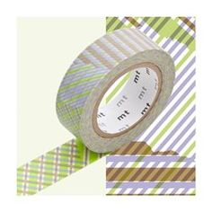 Masking Tape MT Deco Stripe Checked Green MT MASKING TAPE - Décoration