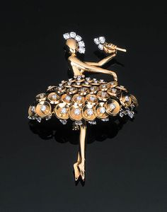 A DIAMOND-SET BALLERINA BROOCH BY VAN CLEEF & ARPELS