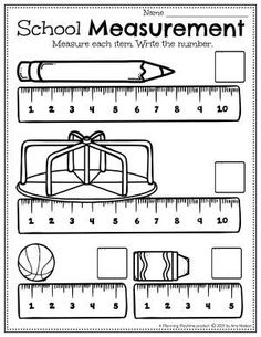 Measure & Record all the School Items. - Back to School Preschool Worksheets Preschool Binder, Preschool Age, Preschool Worksheets, Preschool Activities, Back To School Worksheets, Back To School Activities, Hands On Activities, Classroom Clock, Letter Recognition