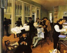 Edgar Degas, the-cotton-exchange-new-orleans-1873. Severe cropping of the scene creates a sense of a snapshot in time, a casual glance of movement taking place. This kind of composition seems less formal, and more candid.