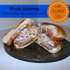 Celebrate National Burger Month with this mouth watering stuffed grilled hamburger recipe! Using @Tillamook cheese!