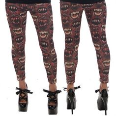 Monster Mouth Leggings Red #goth #gothic #punk #punkrock #rockabilly #psychobilly #pinup #inked #alternative #alternativefashion #fashion #altstyle #altfashion #clothing #clothes #vintage #noir #infectiousthreads #horrorpunk #horror #steampunk #zombies #burningmanclothing #kreepsville666