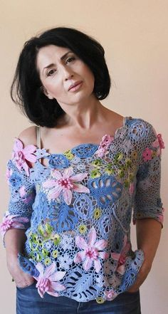 57 Chic and Elegant Crochet Top Pattern Ideas and Images Pull Crochet, Gilet Crochet, Freeform Crochet, Crochet Blouse, Crochet Lace, Free Crochet, Irish Crochet Patterns, Crochet Designs, Top Pattern