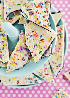 Cake Batter & Sprinkle Bark via Sweetapolita