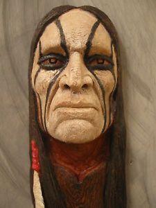 Native American Indian Wood Carvings   Wood Carving Wood Spirit Native American Indian Warrior Proud   eBay