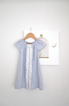 Linen Girls Dress-blue with white cotton lace and a vintage button-baby-toddler peasant dress-Handmade Children Clothing by Chasing Mini via Etsy