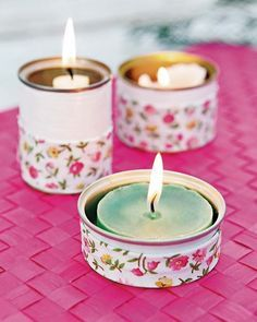 How to Make a Candle Holder out of a Tin Can - 5 DIY Tutorials. Recycled crafts are more fashionable than ever before, and some materials that you use on a daily basis can help you to. Tin Can Crafts, Crafts To Make, Diy Crafts, Recycled Tin Cans, Recycled Crafts, Tin Can Lanterns, Tin Can Art, Diy Candles, Candle Making