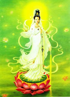 """""""Let's begin to see Kwan Yin in our mind's eye. She's an Asian Goddess, who wears flowing robes. Great Compassion Mantra, La Compassion, Art Buddha, Buddha Kunst, Orisha, Buddhist Practices, Guanyin, Divine Mother, Mother Mary"""
