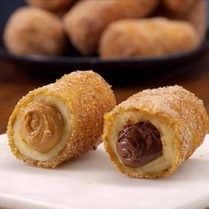This churro-inspired dessert makes banana, chocolate, and peanut butter truly irresistible, the way only frying and rolling something in cinnamon & sugar can.