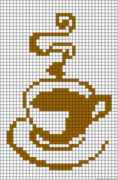 Coffee cup perler bead pattern