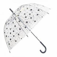 Damen-Kuppelschirm-Regenschirm-mit-Stern-Design-transparent