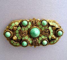 Peking Glass Vintage Brooch with Enamel Art Nouveau Czech