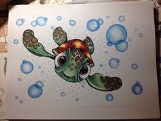 Disneys Finding Nemo drawing print Squirt by JordyneBirdArt Art Drawings Sketches, Disney Drawings, Cartoon Drawings, Animal Drawings, Cute Drawings, Pencil Drawings, Amazing Drawings, Colorful Drawings, Turtle Sketch
