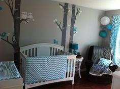 Aqua/teal chevron nursery with cute owls :)   http://thevailfamily2012.blogspot.ca