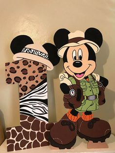 Boys First Birthday Party Ideas, Mickey Mouse 1st Birthday, Mickey Party, Baby First Birthday, 1st Birthday Parties, Safari Theme Birthday, Safari Birthday Party, Safari Party Decorations, Mickey Baby Showers