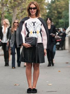 Tiany Kiriloff wearing Louis Vuitton loafers, Miu Miu glasses, Minju Kim for H&M sweatshirt, Pinko skirt