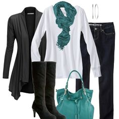 Teal, Black, White - Fall Fashion