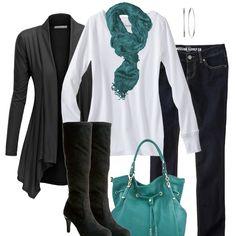 Teal, Black, White - Fall Fashion