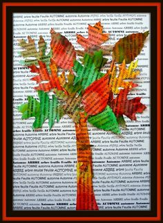 News paper college Autumn tree Fall Arts And Crafts, Autumn Crafts, Autumn Art, Autumn Trees, Fall Art Projects, School Art Projects, Autumn Activities, Art Activities, Art For Kids