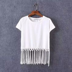 White Fringe Shirt White Shirt short sleeve shirt with fringe Tops Tees - Short Sleeve