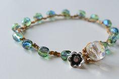 "Bohemian crochet bracelet, ""Iridescent blue/green"""