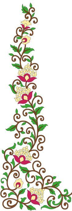 Floral Flowers, Flower Art, Draw Flowers, Motif Design, Pattern Design, Vintage Borders, Leaf Border, Design Seeds, Butterfly Wallpaper