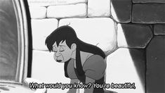 Cinderella's ugly stepsister expresses sadness about her appearance. In this gif, she compares herself to Cinderella, and implies that beautiful people have easier lifestyles. Young girls need to know that hard work will provide success, not good looks.