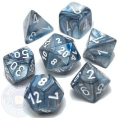 6 Pieces Black with Silver Numbers Chessex Phantom 20 Sided D20 Dice