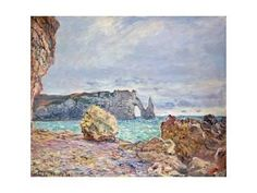 Etretat, Beach and Falaise D'Aval, 1884 Giclee Print by Claude Monet at Art.com