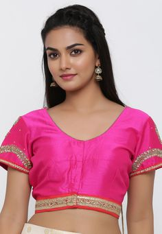 Readymade Art Dupion Silk Blouse in Fuchsia This V Neck and Short Sleeve Piece with Cotton Lining is Allured with Dangles, Stone and Lace work It is Enclosed with Front Hook Its Length is 15 inches Do Note: Slight variation in actual color vs. image is possible. Beautiful Girl Indian, Beautiful Women, Indian Goddess, Conversational English, Tamil Girls, Dark Skin Beauty, Dupion Silk, Indian Beauty Saree, India Beauty